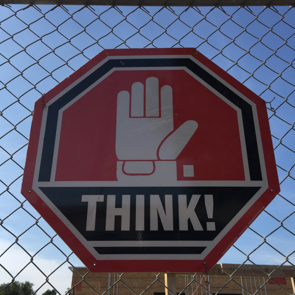THINK stop sign